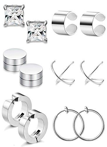 FIBO STEEL 6 Pairs Ear Cuff Earring Magnetic Earrings for Men Women Non Pierced Clip-on Earrings Set by FIBO STEEL