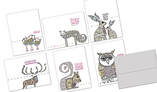 Well Said - 36 Note Cards - Blank Cards - Gray Envelopes Included (Birdie Greeting Cards)