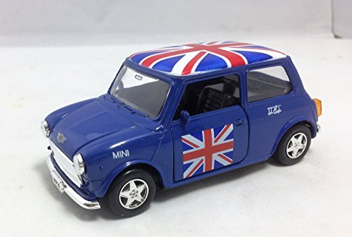 Detailed Blue Welly Brand Diecast Metal Old Style Mini Cooper! Union Jack Top! Collectable UK Model Car Souvenir! Popular, memorable, One-of-a-Kind British UK Collectable Model Car! by My London Souve ()