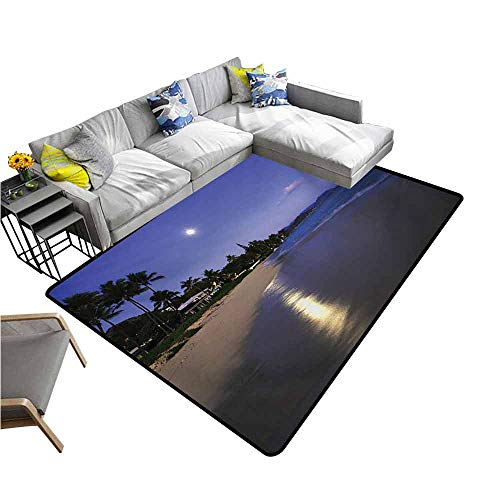 (Front Mat Home Decorative Carpet Colorful Hawaiian,Houses Clear Sky Full Moon Reflection at Daybreak on a Hawaii Beach Exotic Life,Navy Sand 60
