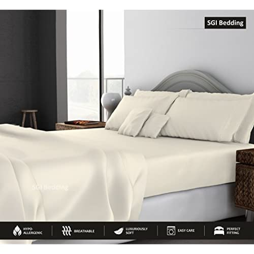Hot KING SIZE SHEETS LUXURY SOFT 100% EGYPTIAN COTTON -Classic Collection Bed Sheet Set for King Mattress Ivory SOLID 1000 Thread Count Deep Pocket hot sale
