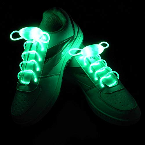 2 Pairs Novelty Luminous Shoelaces Light Up LED Shoestring Battery Powered Glowing Neon Led Shoe Laces, Halloween Christmas Rave Party Favors -