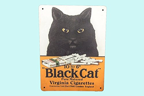 Antiques World Vintage Old Antique Style Cigarette Enamel Black Cat Purely Matured Advertising Metal Sign Board AWUSAHB ()