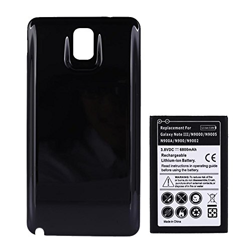 Asiproper 6800mAh extended battery for Samsung Galaxy Note 3 + Black Cover