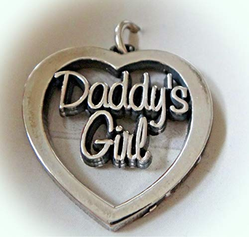 Sterling Silver 22x20mm Dad Daughter Daddy's Girl Cut Out Heart Charm Vintage Crafting Pendant Jewelry Making Supplies - DIY for Necklace Bracelet Accessories by CharmingSS