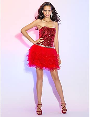 HY&OB A-Line Princess Sweetheart Short / Mini Tulle Sequined Cocktail Party Prom Dress With