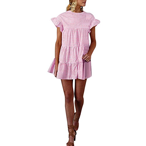 Women's Plaid Bell Sleeve Dress,Summer Loose Round Neck Ruched Ruffled Mini Dresses (L, Pink)