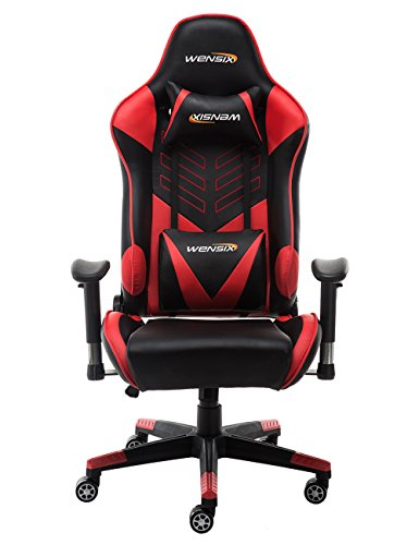 WENSIX Ergonomic High Back Computer Gaming Chair for PC Racing Chairs with Adjustable Headrest and Backrest (Red/Black)