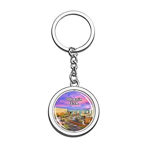 State Musical Keychain - USA United States Keychain Musical Instrument Museum Phoenix Key Chain 3D Crystal Spinning Round Stainless Steel Keychains Travel City Souvenirs Key Chain Ring