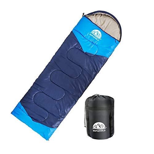 GOFORWILD Sleeping Bag Envelope Lightweight Portable Waterproof Backpacking Comfort with Compression Sack 4 Season Warm Cool Weather Camping Hiking Travelling Outdoor Activities for Kids Adults