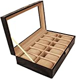 Men's jewelry box High-grade 12 Compartment leather watch box organizer case black OSBZ14
