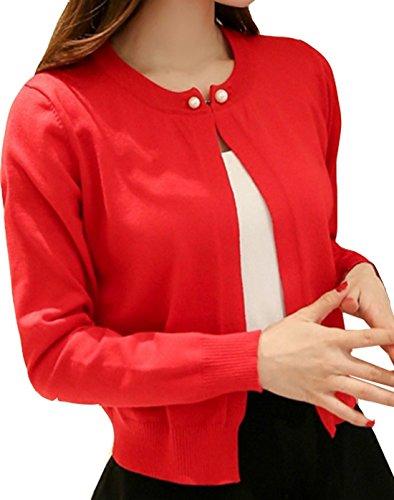 [トレジャーディ] 通勤 オフィス 紫外線対策 パール 長袖 ニット カーディガン 白 黒 赤 紫 黄色 グレー ピンク レディース