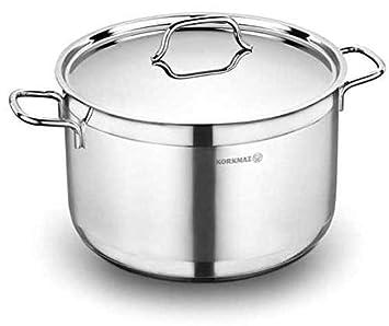 Korkmaz Alfa Casserole Olla Utensilios Cocina Compatible con Inducción Plata 30cm Acero Inoxidable A1031: Amazon.es: Hogar