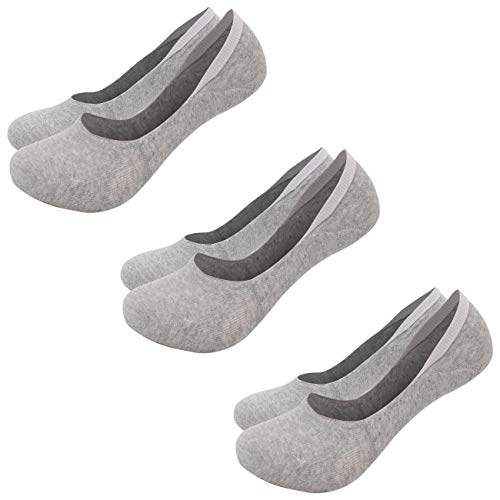 (FITEXTREME Mens 3 Pack DryCool Non Slip No Show Flat Boat Line Socks Gray)