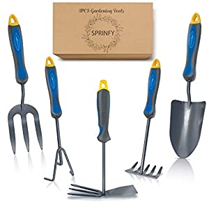 Hortem 5PCS Lightweight Gardening Hand Tools Set- Heavy Duty Comfortable Garden Tools Set Include Garden Trowel, Hand…