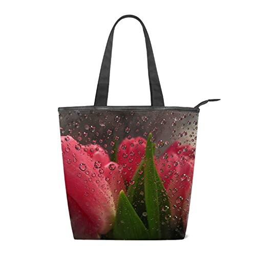 (Women's Canvas Shoulder Tote Handbag, Flowers Behind Glass Drops Tulips Travel Handbags for Shopper, Daily Purse Tote Bag)