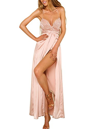 BerryGo Women's Sexy Backless Sequin V Neck Lace Up Split Satin Party Dress Gown ()