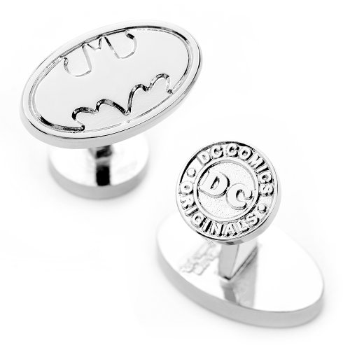 DC Comics Mens Oval Batman Logo Cufflinks - Silver (Batman Logo Cufflinks)