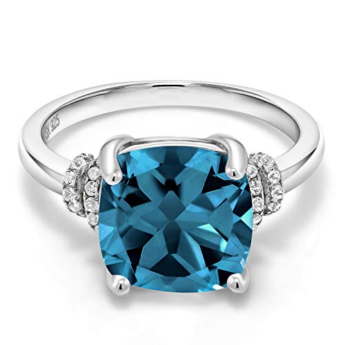 Gem Stone King London Blue Topaz 925 Sterling Silver Women's Ring (Cushion Cut 4.64 Cttw Gemstone Birthstone Available in size 5, 6, 7, 8, 9)