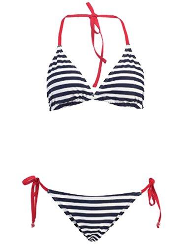 2 PC. Ladies American Flag Bikini Swimsuit,X-Large,Navy Stripe