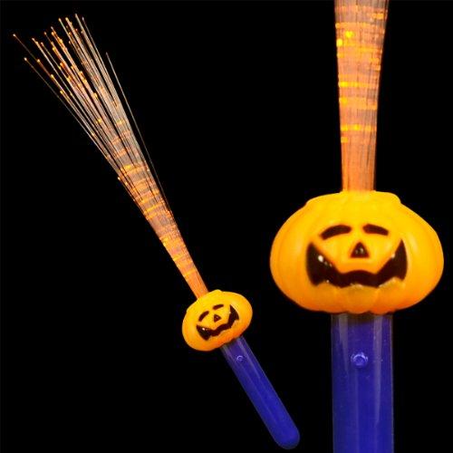 (Pumpkin Face LED Wand with Flashing Fiber Optics (Set of)