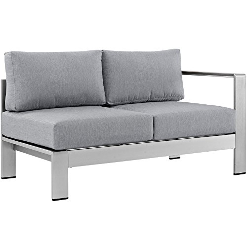 - Modway Shore Aluminum Outdoor Patio Right Arm Loveseat in Silver Gray