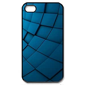 Abstract Blue Texture Shockproof Dirtproof Snowproof Protection Case Cover for Apple Iphone 4 4S (Black 102147)