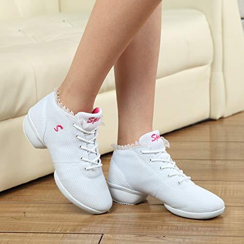 Compensée Sport Danse Semelle Blanc Entraîneur Pour De À Chaussures Légères Caoutchouc Femmes Lacets Modernes En Gtagain Et PS6ZWq4