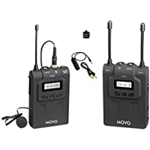 Movo WMIC80 UHF Expandable Wireless Lavalier Microphone System with Lavalier Mic & Bodypack Transmitter, Portable Receiver, Shoe Mount for DSLR Cameras (330' Range)