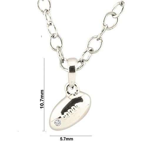 Argent Blanc 92 ct Pendentifs Diamant en forme de ballon de rugby, 0.01 Ct Diamant, GH-SI, 1.58 grammes.