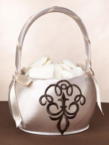 Lillian Rose Brown Scroll Flower Basket
