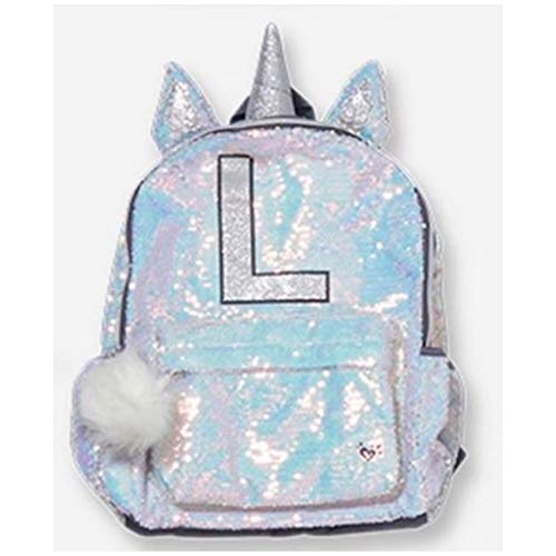 """Justice Unicorn Horn Silver 2 Way Reversible Sequin 16"""" Backpack Initial 'L"""" Letter"""