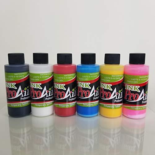 (Body Paint - ProAiir Temporary Tattoo Ink Starter Pack - 6 2.1 oz (60ml) Bottles)
