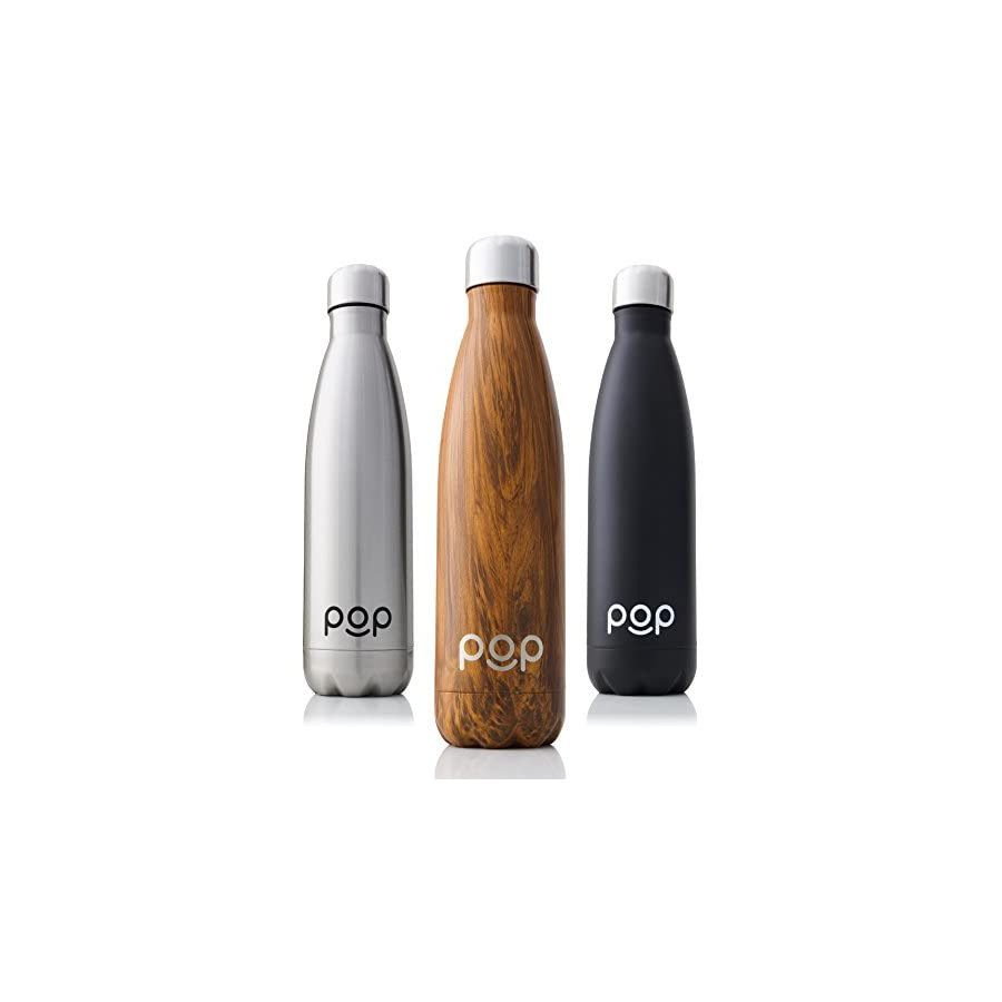 POP Design Stainless Steel Vacuum Insulated Water Bottle | Keeps Cold 24hrs. or Hot for 12hrs. | Sweat & Leak Proof | Narrow Mouth & BPA Free | 17 Oz (500ml) or 25 Oz (740ml) | 3 Colors