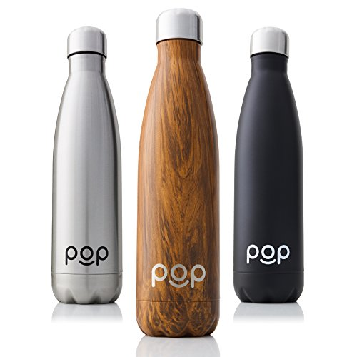 Aluminum Drinking Bottle - POP Design Stainless Steel Vacuum Insulated Water Bottle - Keeps Cold 24hrs. or Hot for 12hrs. - Sweat & Leak-Proof - Narrow Mouth & BPA Free - 17 Oz (500ml) - Zebrana