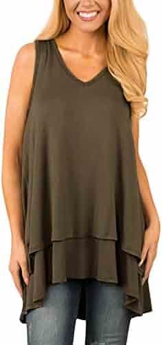 7fb69d1e9e6 JESPER Women Casual Layered Sleeveless Tunic V-Neck Ruffle Asymmetric Hem Tank  Top Blouse