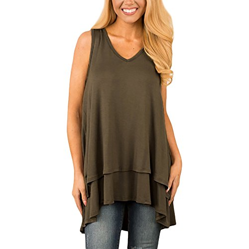 Sunhusing Women's Solid Color V-Neck Sleeveless Loose Tank Tops Irregular Ruffle Layered Hem Tunic Top Khaki