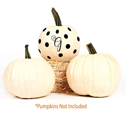 BYRON HOYLE Halloween Pumpkin Vinyl Decal Decoration | Letter G Initial Decor | 2 Sets of Monograms and Polka Dots for Cute Jack-o-Lantern Porch]()