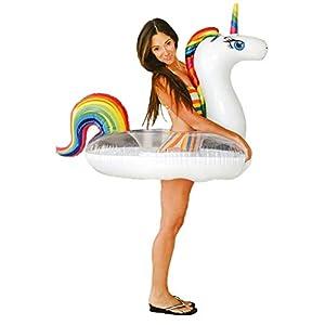 Unicorn Pool Floats for Kids – Glitter Filled – Ride ON Inflatable Unicorn Float for Pool Lake River RAFT – Giant Unicorn Gift for Summertime Pool Party – Inner Tube Float