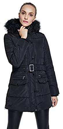 WenVen Women's Winter Thicken Puffer Coat with Fur Trim Removable ...
