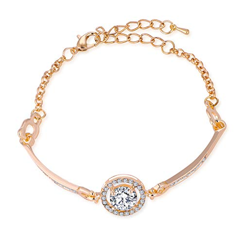 Cherisherre Rose Gold Lovers Bracelet Aight Hearts Eight Arrow Fashion Crystal Hand Chain (Lover Bracelet Heart)