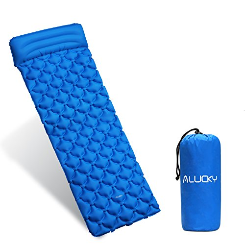 Sleeping Pad, Ultralight Inflating Sleeping Pad Camping Mat with Pillow for Camping, Backpacking, Hiking and Traveling- Compact Air Cell and Portable Sleeping pad