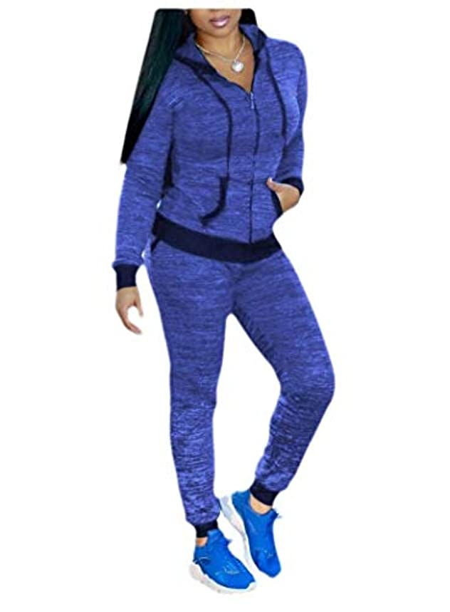 広まったジェスチャーデータEnergyWD Womens Running Yoga Pocket Tracksuit Skinny Zip Hooded Sport Tracksuit
