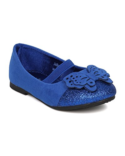 Girls Mary Jane Flat - Toddler Girl - Butterfly Decor Ballet Flat - Glitter Capped Toe Mary Jane - Dressy Everyday Play Date Walker Shoe - HA81 By Jelly Beans Collection - Royal Blue (Size: Toddler 5)