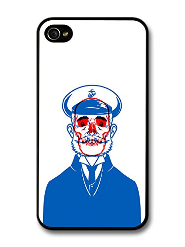 New Skull Captain Illustration in Red and Blue case for iPhone 4 4S