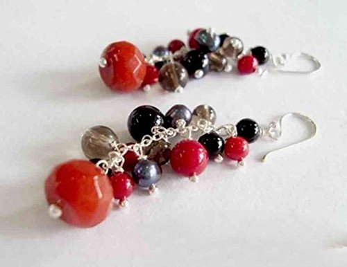 Red coral earrings,sterling silver earrings,dangle earrings,pearl earrings,smoky quartz earrings,chain earrings,women earrings,fashion bracelets,gift earrings ()