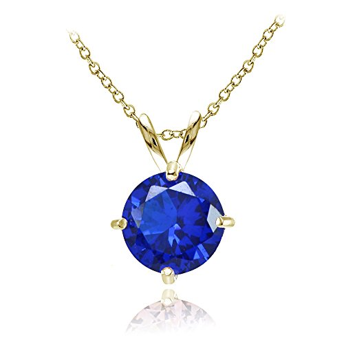 Sapphire Round Solitaire (Yellow Gold Flashed Sterling Silver Simulated Blue Sapphire 7mm Round Solitaire Pendant Necklace)