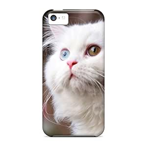 BJBcke Scratch-free Phone Case For Iphone 5c- Retail Packaging - White Cat