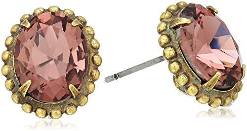 Sorrelli Mahogany Oval Crystal Stud Earrings