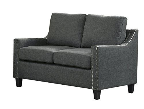 Homelegance Pagosa Loveseat with Contour Arms and Nail Head Accent, Grey (Leather Loveseat With Nailhead Trim)